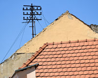 Telefonu słup na dachu Fotografia Stock