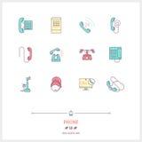 Telefonuppsättning Tunn linje konstsymboler Arkivbild