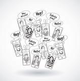 Telefony komórkowi grupują szczęśliwych komunikacyjnych ludzi czerni linii Zdjęcia Royalty Free