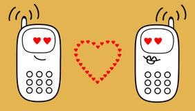 Telefony komórkowi wysyłają lotniczego buziaka each inny ilustracja wektor