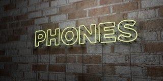 TELEFONY - Rozjarzony Neonowy znak na kamieniarki ścianie - 3D odpłacająca się królewskości bezpłatna akcyjna ilustracja royalty ilustracja