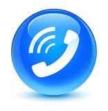 Telefoon bellend pictogram glazige cyaan blauwe ronde knoop royalty-vrije illustratie