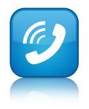 Telefoon bellend pictogram speciale cyaan blauwe vierkante knoop stock illustratie
