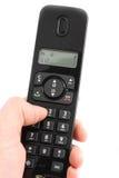 Telefoon in een hand Stock Foto's