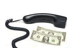 Telefoon en dollarrekeningen Royalty-vrije Stock Fotografie