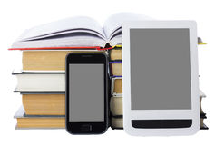 Telefoon en eBook Royalty-vrije Stock Foto