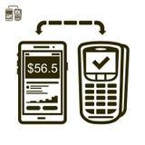 Telefoon en eindbetalingspictogram Stock Foto
