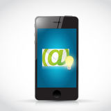 Telefoon en envelop het ontwerp van de gloeilampenillustratie Stock Foto's