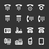 Telefoon en faxpictogramreeks, vectoreps10 Stock Afbeeldingen