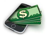 Telefoon en geld Stock Afbeelding