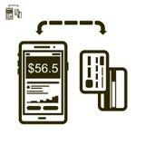 Telefoon en kaartenbetaling vectorpictogram Royalty-vrije Stock Afbeelding