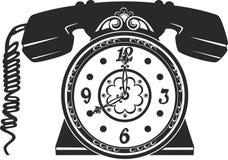 Telefoon en klok royalty-vrije illustratie