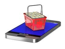 Telefoon en rode het winkelen mand op witte achtergrond Geïsoleerdea 3D Stock Foto