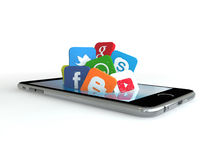 Telefoon en sociale media Royalty-vrije Stock Foto's