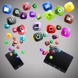Telefoon en tabletpictogrammen Royalty-vrije Stock Afbeelding