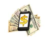 Telefoon, geld en dollar Stock Fotografie
