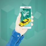 Telefoon in hand vectorillustratie in vlakke stijl Man hand die een telefoonconcept houden Royalty-vrije Stock Afbeeldingen