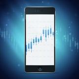 Telefoon met forex grafiek op Desktop Stock Afbeeldingen