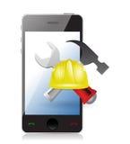 Telefoon met kwesties en in aanbouw teken stock illustratie