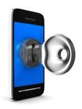 Telefoon met sleutel op witte achtergrond Stock Afbeeldingen