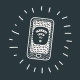 Telefoon met vrije wifi op het scherm Royalty-vrije Stock Afbeeldingen