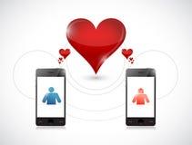 Telefoon. online daterend grafisch concept. Royalty-vrije Stock Afbeeldingen