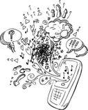 Telefoon schetsmatige krabbels royalty-vrije stock foto