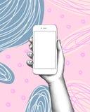 Telefoon ter beschikking op abstracte achtergrond royalty-vrije illustratie