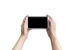 Telefoon van de hand de vrouwelijke holding op geïsoleerd wit met het knippen van weg stock fotografie