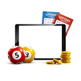 Telefoon van het de ballenkaartje van het loterij 3d pictogram op witte vector Stock Afbeeldingen