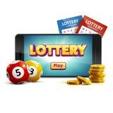 Telefoon van het de ballenkaartje van het loterij 3d pictogram op witte vectorillu Royalty-vrije Stock Afbeelding