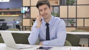 Telefoonbespreking, Zakenman Discussing Work stock footage