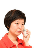 Telefoongesprek stock afbeeldingen