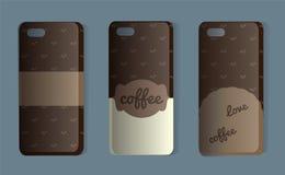 Telefoongeval met koffiepatroon Reeks bruine rugdekking Vectorillustratie van een sticker of steekproefdekking voor koffieminnaar vector illustratie