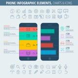 Telefoongrafiek Infographic en pictogrammen Stock Afbeelding
