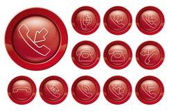Telefoonpictogram op rood Royalty-vrije Stock Afbeeldingen