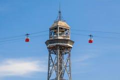 Teleférico en Barcelona Imagenes de archivo