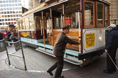 Teleférico en la placa giratoria, San Francisco Fotografía de archivo