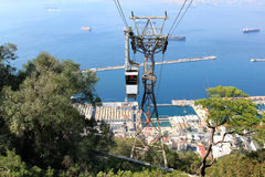 Teleférico a los monos guarida, Gibraltar, Reino Unido Fotos de archivo libres de regalías