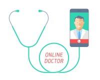 Telegeneeskundeconcept Stethoscoop met mobiele telefoon, arts op t Stock Fotografie