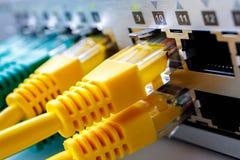 Telegrafíe el interfaz con los puertos del interruptor de banda ancha, el frente del interruptor imágenes de archivo libres de regalías