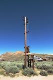 Telegrafpol - den Bodie Ghost staden - Kalifornien Arkivbilder