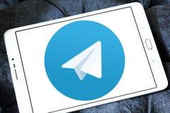 Telegram logo. Telegram application logo and vector on samsung tablet Stock Photos