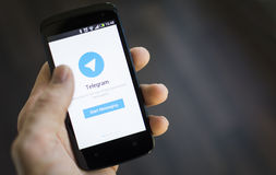 Telegram mobile application Stock Photo