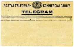 Telegrama do vintage Fotos de Stock Royalty Free