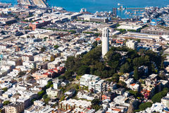 Telegraph Hill and Coit Tower. Aerial view of Coit Tower in San Francisco, California Stock Photos