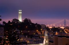 Telegraph Hill at Night Stock Images