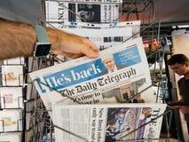 Daily Telegraph i Boris Jhonson poprzedni polityk UK zdjęcia stock