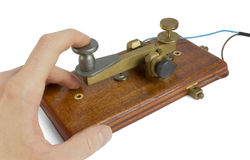 Telegraph Key. A telegraph key being used by an operator Royalty Free Stock Photos