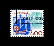 Telegraph key and masts, microwaves and dish aerial, serie, circa 1980. MOSCOW, RUSSIA - NOVEMBER 24, 2017: A stamp printed in Portugal shows Telegraph key and Royalty Free Stock Image